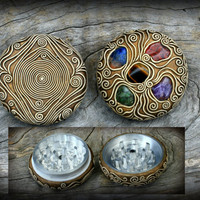 Smoking accessories mandala herb artistic grinder gemstones clay art trance reggae magic weed wiccan psychedelic box