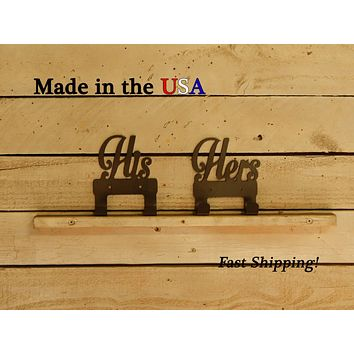 His and Hers Towel Hooks with 2 hooks, Set of 2