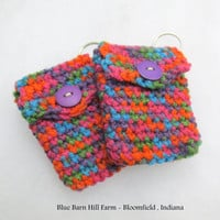 BRAND NEW LISTING - Matching Pair of Crocheted  Keychain Pouches - Rainbow Color - Item 20160101