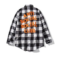 ANTI SOCIAL SOCIAL CLUB Tide brand men's and women's plaid long-sleeved shirt Grey