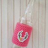 Beer Sleeve - Antler Beer Cozy - Girly Hunter - Bottle Sleeve - Bottle Cozy - Antlers and Flowers - Birthday Gift - Gift Idea for Her