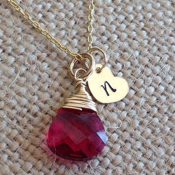 MothersDaySale Gold heart tag with initial and ruby Swarovski crystal wire wrapped gemstone necklace. Name tags necklace. Initial tags. Kids