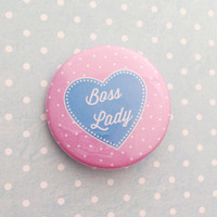 Boss Lady Pink and Blue Heart Button Badge
