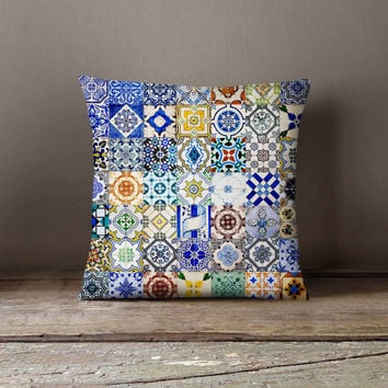 Morocco Portugal Azulejo Tile Pillowcase | Decorative Throw Pillow Cover | Cushion Case | Pillow Case | Birthday Gift Idea For Him & Her