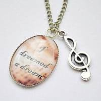 Les Miserables: Fantine's I Dreamed A Dream lyrics with treble g clef charm cameo pendant necklace