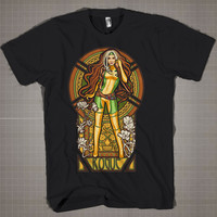 Rogue X-Men Triptico  Mens and Women T-Shirt Available Color Black And White