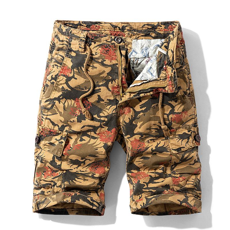 Image of Men Summer New Casual Vintage Classic Pockets Cargo Shorts Men Outwear Fashion Twill Cotton Camouflage Shorts Men