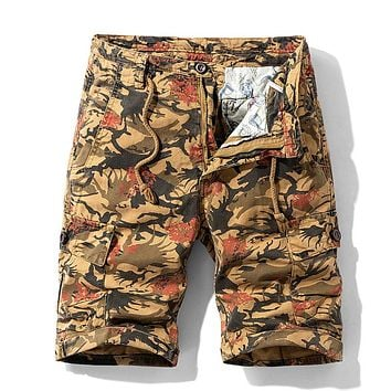 Men Summer New Casual Vintage Classic Pockets Cargo Shorts Men Outwear Fashion Twill Cotton Camouflage Shorts Men