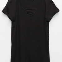 FULL TILT Lace Front Girls Tee   Knit Tops & Tees