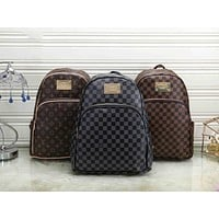 LV tide brand female models wild classic print checkerboard leisure outdoor backpack