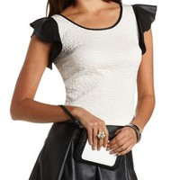 Scuba Knit Top with Faux Leather Sleeves - Ivory Combo