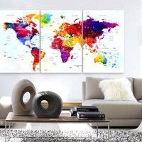 """LARGE 30""""x 60"""" 3 Panels Art Canvas Print Watercolor Map World Push Pin Travel cities Wall colorfull  decor Home interior (framed 1.5"""" depth)"""