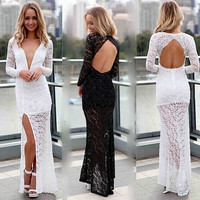 Crochet Lace Deep V-Neck Backless Slit Side Bodycon Maxi Dress