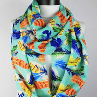 feather turquoise infinity scarf, scarf, scarves, long scarf, loop scarf, gift