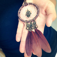 Brown Dreamcatcher Feather Necklace