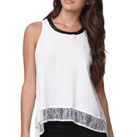 Lush Lace Hem Tank Top - Womens Shirts - Black