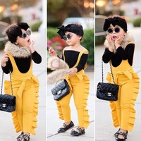 Toddler Kids Baby Girl Ruffle Bib Pants Romper Jumpsuit Overalls Outfits Clothes