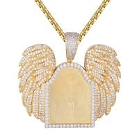 Gold Tone Angel Wings Icy Picture Memory Sterling Silver Pendant