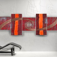 View: Abstract textured paintings 80x240x4 cm red copper OOAK XXL OFFICE decor original abstract art a75 big ready to hang painting acrylic on stretched canvas metallic textured glossy wall art by artist Ksavera | Artfinder