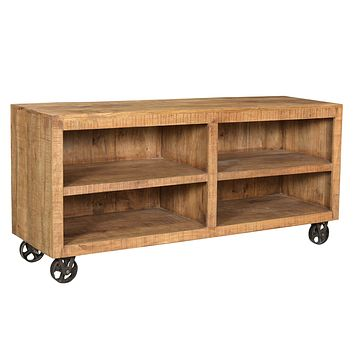 Bengal Manor Natural Mango Wood Open Media Console with Iron Castered Wheels