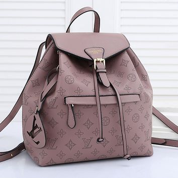 LV Louis vuitton Pinhole Embroidered Letter Logo Women's Shopping Backpack School Bag Daypack
