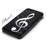 Black Snap-On iPhone 5 Cover Case. G-CLEF MUSICAL NOTE Logo Design for iPhone 5. Height: 4.95 Inches X Width: 2.31 Inches X Thickness: 0.35 Inches. Personalized Design Is Available with a Minimum of 20 Pcs Orders.