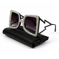 Oversize Sunglasses Women Big Wide Temple Bling Stones 2019 Fashion Shades UV400 Vintage Brand Glasses Oculos