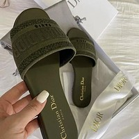 DIOR new embroidered letters ladies casual sandals slippers Shoes