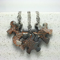 Best Friend 3 Puzzle Necklace Set Polymer Clay Set 159