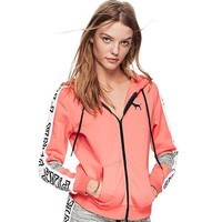 """Pink"" Victoria's Secret Letter Print Zipper Hoodie Sweatshirt Cardigan Jacket Coat"