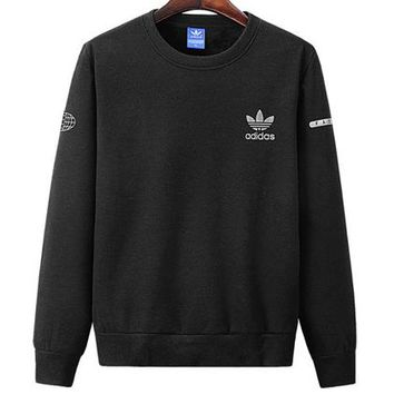 ADIDAS 2018 autumn and winter new round neck pullover long-sleeved sweater black