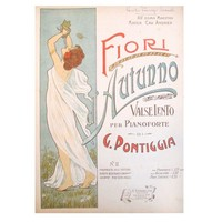 Pre-owned Italian Art Nouveau Song Sheet for Autumn Blooms