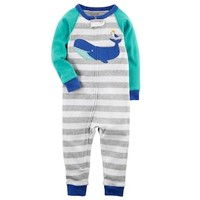 Baby Boy Carter's Whale Striped Footless One-Piece Pajamas | null