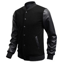 Veste Homme 2016 Autumn Slim Fit  Casual Sports Baseball Jackets PU Leather Sleeve Jacket Men Bomber Jackets And Coats