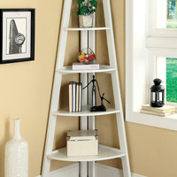 Lyss contemporary style white finish wood 5 tier corner bookcase shelf