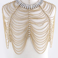 CRYSTAL LINED TIERED FASHION BODY CHAIN SET