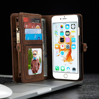 For iPhone 6 6s 7 Plus Luxury PU Leather Magnetic 2 in 1 Multi-functional Flip Wallet Card Slot w Zipper Back Cover Case