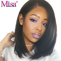 """Mi Lisa Full Lace Frontal Wig Short Human Hair Wig Straight Hair Pre Plucked With Baby Hair 10""""-14"""" Inche Remy Brazilian Bob Wig"""