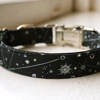 Handmade Dog Collar - Black Celestial Dog Collar Star Chart Astrology Print w/ Metal Adjustable Buckle Fabric Dog Accessories Pet Accessory