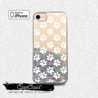 White Paw Pattern Dog Puppy Paw Prints Cute Liquid Glitter Sparkle Case iPhone 6 and 6s iPhone 6 Plus and 6s Plus iPhone 7 and iPhone 7 Plus