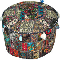 Bohemian Pouf Ottoman bean bag chair Footstool Cover indian round ottoman stool pouf pillow Patterned Cocktail Vintage Hassock Pouffe