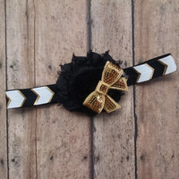 Baby Flower Headband - Gold & Black Headband - Sequin Bow - Chevron - Hair Bow - Shabby Chic - Baby Headband Adult Headband Toddler Headband