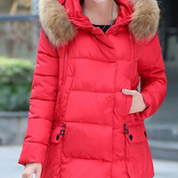 Fur Design Hood Long Sleeve Quilted Coat