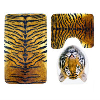 3 pieces/Set Tiger Leopard Pattern Anti-silp Bath Mat Flannel Contour Rug Lid Toilet Cover Carpet Bathroom Set