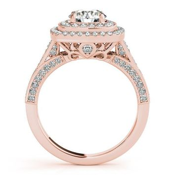 Double Halo Diamond Setting Moissanite Center - Dina