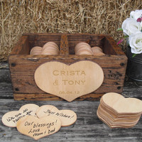 GUEST BOOK ALTERNATIVE Rustic Wedding Divided Rustic Barnwood Style Box with Engraved Personalization  - Item 1399