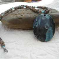 Nipomo Blue Coral Fossil Pendant Necklace