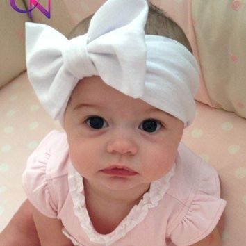 Baby Solid Cotton Hair Bow Headband Toddler Handmade Stretch Headwraps With Bow Boutique Cute Hair Accessories