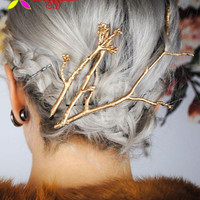 Vintage HairPins Hair clip Tree Clips Pins Fashion Designer Metal Jewelry Branches Women Hair