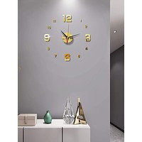 1set Mirror Surface Wall Clock